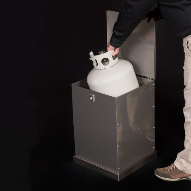 Storage container fits 20 lb propane tank